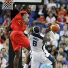 Spain\'s Serge Ibaka blocks a shot by United States\' LeBron James during a men\'s gold medal basketball game at the 2012 Summer Olympics, Sunday, Aug. 12, 2012, in London. (AP Photo/Eric Gay)