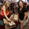 Heather Armstrong and and daughter Courtney, 6, shop for shoes at Browns Shoe Fit store on West Main as shoppers enjoy a tax-free weekend in Norman, Okla. on Saturday, Aug. 8, 2009. Photo by Steve Sisney, The Oklahoman