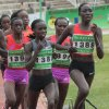 CORRECTS POSITION IN PHOTO OF RUNNER Vivian Jepkemoi Cheruiyot, front left no. 1386, leads the pack and went on to win the women\'s 5000 meter final during the national trials for the London 2012 Olympic games at Nyayo National Stadium, Nairobi, Kenya, Saturday, June 23, 2012. Cheruiyot also won the 10,000 meters final. (AP Photo/Sayyid Azim)
