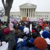 FILE - In this Jan. 23, 2012, file photo, anti-abortion and abortion rights supporters stand face to face in front of the Supreme Court in Washington, Monday, Jan. 23, 2012, during the annual March For Life rally. There\'s been a lot of heated talk this year by Democrats contending that Republicans are waging a