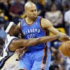 Memphis\' Keyon Dooling (55) pressures Oklahoma City\'s Derek Fisher (6) during Game 3 in the second round of the NBA basketball playoffs between the Oklahoma City Thunder and Memphis Grizzles at the FedExForum in Memphis, Tenn., Saturday, May 11, 2013. Memphis won, 87-81. Photo by Nate Billings, The Oklahoman