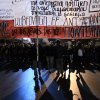 Protesters march during a protest commemorating the student uprising against a military dictatorship in 1973, at the northern city of Thessaloniki Greece, Sat. Nov. 17 2012. The banner is reading