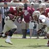 Photo - Florida State garnet running back Freddie Stevenson (23) slips the tackle of gold squad's Nick Waisome, left, and avoids Terrance Smith, right, as he scores a touchdown in the first half of an NCAA college spring football game on Saturday, April 12, 2014, in Tallahassee, Fla. (AP Photo/Steve Cannon)