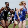 Vinita\'s Carsyn Spurgeon edges out Broken Bow\'s TieAnna Butler in the Girls 4A 100 Meter Dash during the State 3A and 4A Track Meet on Saturday, May 4, 2013, in Ardmore, Okla. Photo by Steve Sisney, The Oklahoman
