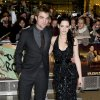 British actor Robert Pattinson, left, and US actress Kristen Stewart arrive for the UK premiere of \'Twilight Breaking Dawn Part 1\' at a central London venue, Wednesday, Nov. 16, 2011. (AP Photo/Jonathan Short) ORG XMIT: LJS103