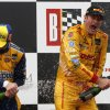 Photo - Ryan Hunter-Reay, right, and Marco Andretti celebrate after Hunter-Reay won the Indy Grand Prix of Alabama auto race on Sunday, April 27, 2014, in Birmingham, Ala. (AP Photo/Butch Dill)