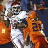 Oklahoma Sooners wide receiver Trey Metoyer (17) makes a catch in front of UTEP\'s Derreck morgan (21) during the college football game between the University of Oklahoma Sooners (OU) and the University of Texas El Paso Miners (UTEP) at Sun Bowl Stadium on Saturday, Sept. 1, 2012, in El Paso, Tex.The catch was ruled out of bounds. Photo by Chris Landsberger, The Oklahoman