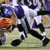 FILE - In this Sept. 10, 2012, file photo, Cincinnati Bengals quarterback Andy Dalton (14) fumbles the ball as he is sacked by Baltimore Ravens linebacker Ray Lewis in the second half of an NFL football game in Baltimore. Baltimore recovered the ball on the play. Lewis announced, Wednesday, Jan. 2, 2013, that he will end his brilliant NFL career after the Ravens complete their 2013 playoff run. (AP Photo/Gail Burton, File)