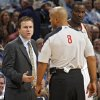 Coach Scott Brooks argues with the official after Oklahoma City Thunder center Kendrick Perkins (5) fouled out of the game during the NBA basketball game between the Oklahoma City Thunder and the Boston Celtics at the Chesapeake Energy Arena on Wednesday, Feb. 22, 2012 in Oklahoma City, Okla. Photo by Chris Landsberger, The Oklahoman