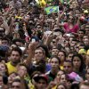 Brazil soccer fans watch their team\'s World Cup semifinal match with Germany via live telecast in Belo Horizonte, Brazil, Tuesday, July 8, 2014. (AP Photo/Bruno Magalhaes)