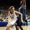 Whitney Hand tries to drive around Sasha Goodlett in the first half as the University of Oklahoma (OU) plays Georgia Tech in round two of the 2009 NCAA Division I Women\'s Basketball Tournament at Carver-Hawkeye Arena at the University of Iowa in Iowa City, IA on Tuesday, March 24, 2009. PHOTO BY STEVE SISNEY, THE OKLAHOMA
