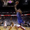 Oklahoma City\'s Russell Westbrook (0) runs into Miami\'s Shane Battier (31) during Game 5 of the NBA Finals between the Oklahoma City Thunder and the Miami Heat at American Airlines Arena, Thursday, June 21, 2012. Oklahoma City lost 121-106. Photo by Bryan Terry, The Oklahoman