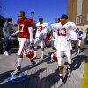 Former OU receivers Andre Woolfolk, left, and Curtis Fagan walk to practice during the 2001 season. PHOTO BY STEVE SISNEY, THE OKLAHOMAN ARCHIVE