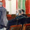 In this courtroom sketch, Osama bin Laden\'s son-in-law, Sulaiman Abu Ghaith, center, listens as court-appointed federal defender Philip Weinstein, left, speaks in U.S. Federal court Friday, March 8, 2013, in New York. Through his lawyer, Abu Ghaith pleaded not guilty to conspiracy to kill Americans in his role as al-Qaida\'s top spokesman. The case marks a legal victory for the Obama administration, which has long sought to charge senior al-Qaida suspects in U.S. federal courts instead of holding them at the military detention center at Guantanamo Bay, Cuba. (AP Photo/Elizabeth Williams)