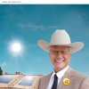 Larry Hagman wears a