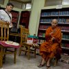 Buddhist monk Wirathu, right, speaks during an interview at Ma Soe Yein monastery in Mandalay, Myanmar on March 27, 2013. Wirathu and others insist