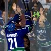 Vancouver Canucks\' Mason Raymond celebrates his goal against the Los Angeles Kings during the second period of an NHL hockey game in Vancouver, British Columbia on Saturday, March 2, 2013. (AP Photo/The Canadian Press, Darryl Dyck)