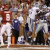 Kansas State\'s Jarell Childs (26) and Adam Davis (55) celebrate after a fumble recovery for a touchdown during a college football game between the University of Oklahoma Sooners (OU) and the Kansas State University Wildcats (KSU) at Gaylord Family-Oklahoma Memorial Stadium, Saturday, September 22, 2012. Photo by Bryan Terry, The Oklahoman