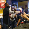 James Harden of the Oklahoma City Thunder brings greets fans at the new Raising Cane\'s in Edmond, Thursday, September 27, 2012. Photo by Bryan Terry, The Oklahoman