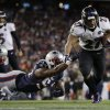 Baltimore Ravens running back Ray Rice (27) goes in for a two-yard touchdown run against New England Patriots outside linebacker Dont\'a Hightower (54) during the first half of the NFL football AFC Championship football game in Foxborough, Mass., Sunday, Jan. 20, 2013. (AP Photo/Matt Slocum)