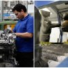 This combination of Associated Press file photos shows a worker, left, assembling a motor in a Mercedes Benz factory in 2008 in Berlin, and a robot, right, painting a brake drum at Webb Wheel Products, in 2013, in Cullman, Ala.. Thanks to robots, Webb Wheel hasn\'t added a factory worker in over three years, though it\'s making 300,000 more drums annually, a 25 percent increase. (AP Photo)