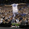 Kentucky forward Anthony Davis (23) leaps off the court during the first half of an NCAA Final Four semifinal college basketball tournament game against Louisville Saturday, March 31, 2012, in New Orleans. (AP Photo/David J. Phillip)