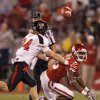 Sawyer Vest (34) breaks up a pass for Oklahoma\'s Jaz Reynolds (16) during the college football game between the University of Oklahoma Sooners (OU) and Texas Tech University Red Raiders (TTU) at the Gaylord Family-Oklahoma Memorial Stadium on Saturday, Oct. 22, 2011. in Norman, Okla. Photo by Chris Landsberger, The Oklahoman
