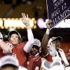OU\'s Sam Bradford celebrates their win in the Big 12 Championship college football game between the University of Oklahoma Sooners (OU) and the University of Missouri Tigers (MU) on Saturday, Dec. 6, 2008, at Arrowhead Stadium in Kansas City, Mo. PHOTO BY BRYAN TERRY, THE OKLAHOMAN