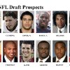 ** FOR USE AS DESIRED WITH NFL DRAFT STORIES ** FILE - In these university handouts and file photos top college football prospects for the 2009 NFL Draft are shown. They are: Aaron Curry, Brian Cushing, Nate Davis, Vontae Davis, Louis Delmas, Dannell Ellerbe, Larry English, Josh Freeman, Graham Gano, Shonn Greene, Percy Harvin and Darrius Heyward-Bey. (AP Photo) ** MAGS OUT. NO SALES, EDITORIAL USE ONLY ** ORG XMIT: NY155