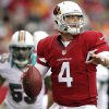 Arizona Cardinals quarterback Kevin Kolb (4) looks to throw against the Miami Dolphins during the second half of an NFL football game, Sunday, Sept. 30, 2012, in Glendale, Ariz. (AP Photo/Paul Connors)