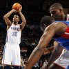 Oklahoma City\'s Kevin Durant (35) takes a foul shot during the NBA basketball game between the Detroit Pistons and Oklahoma City Thunder at the Chesapeake Energy Arena in Oklahoma City, Monday, Jan. 23, 2012. Photo by Nate Billings, The Oklahoman