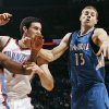 Oklahoma City\'s James Harden (13) and Nick Collison (4) chase a loose ball along with Minnesota\'s Luke Ridnour (13) during the NBA basketball game between the Minnesota Timberwolves and the Oklahoma City Thunder at the Oklahoma City Arena, Monday, November 22, 2010, in Oklahoma City. Photo by Nate Billings, The Oklahoman