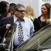 Actor Vincent Pastore and actress Aida Turturro, right, arrive for the funeral service of James Gandolfini, star of