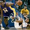Photo -  Oklahoma City's Thabo Sefolosha (right) and Los Angeles' Kobe Bryant go after a loose ball during the NBA basketball game between the Los Angeles Lakers and the Oklahoma City Thunder at the Ford Center in Oklahoma City, on Tuesday, Nov. 3, 2009. By John Clanton, The Oklahoman  ORG XMIT: KOD