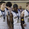 Okemah reacts after the loss to Millwood during the state high school basketball tournament Class 3A boys championship game between Millwood High School and Okemah High School at the State Fair Arena on Saturday, March 9, 2013, in Oklahoma City, Okla. Photo by Chris Landsberger, The Oklahoman