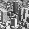 OKLAHOMA CITY / SKY LINE / OKLAHOMA / AERIAL VIEWS / AERIAL PHOTOGRAPHY / AIR VIEWS: DOWNTOWN OKC. Photo undated and unpublished. Photo arrived in library 11/02/1972.