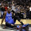 Oklahoma City\'s Kevin Durant (35) argues for a call during Game 5 of the Western Conference Finals in the NBA playoffs between the Oklahoma City Thunder and the San Antonio Spurs at the AT&T Center in San Antonio, Thursday, May 29, 2014. Photo by Sarah Phipps, The Oklahoman