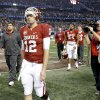 Oklahoma\'s Landry Jones (12) walks off the field after the Cotton Bowl college football game between the University of Oklahoma (OU)and Texas A&M University at Cowboys Stadium in Arlington, Texas, Friday, Jan. 4, 2013. Oklahoma lost 41-13. Photo by Bryan Terry, The Oklahoman