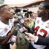 Photo - Alabama's Eddie Lacy interviews Christion Jones during Media Day for the BCS National Championship college football game Saturday, Jan. 5, 2013, in Miami. Alabama faces Notre Dame in Monday's championship game. (AP Photo/David J. Phillip)