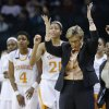 Tennessee head coach Holly Warlick gestures in the second half of the Oklahoma City regional final game in the women\'s NCAA college basketball tournament in Oklahoma City, Tuesday, April 2, 2013. Tennessee won 86-78. (AP Photo/Sue Ogrocki)