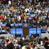 President Barack Obama begins to rub his throat while speaking to supporters during a campaign event at Fifth Third Arena, Sunday, Nov. 4, 2012, in Cincinnati, Ohio. (AP Photo/Pablo Martinez Monsivais)