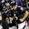 Baltimore Ravens quarterback Joe Flacco, right, and wide receiver Anquan Boldin runs off the field after Boldin pulled in a pass from Flacco for a touchdown during the first half of an NFL football game against the Pittsburgh Steelers in Baltimore, Sunday, Dec. 2, 2012. (AP Photo/Nick Wass)