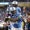 Detroit Lions wide receiver Ryan Broyles (84) celebrates his touchdown with wide receiver Calvin Johnson in the first half of an NFL football game, Sunday, Oct. 28, 2012. in Detroit. (AP Photo/Rick Osentoski) ORG XMIT: DTF112