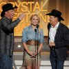 Photo - Garth Brooks, Miranda Lambert and George Strait speak on stage at the 49th annual Academy of Country Music Awards at the MGM Grand Garden Arena on Sunday, April 6, 2014, in Las Vegas. (Photo by Chris Pizzello/Invision/AP)