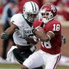 Baylor\'s Ahmad Dixon (6) chases down Oklahoma\'s Jalen Saunders (18) after a catch during the college football game between the University of Oklahoma Sooners (OU) and Baylor University Bears (BU) at Gaylord Family - Oklahoma Memorial Stadium on Saturday, Nov. 10, 2012, in Norman, Okla. Photo by Chris Landsberger, The Oklahoman