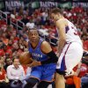 Oklahoma City\'s Russell Westbrook (0) tries to get around Los Angeles\' Blake Griffin (32) during Game 6 of the Western Conference semifinals in the NBA playoffs between the Oklahoma City Thunder and the Los Angeles Clippers at the Staples Center in Los Angeles, Thursday, May 15, 2014. Photo by Nate Billings, The Oklahoman