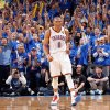 Oklahoma City\'s Russell Westbrook (0) reacts after a three-point shot during Game 1 of the NBA Finals between the Oklahoma City Thunder and the Miami Heat at Chesapeake Energy Arena in Oklahoma City, Tuesday, June 12, 2012. Photo by Chris Landsberger, The Oklahoman
