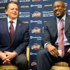 Cleveland Cavaliers owner Dan Gilbert, left, talks with new head coach Mike Brown during a press conference at the team\'s headquarters introducing Brown on Wednesday, April 24, 2013, in Independence, Ohio. (AP Photo/Jason Miller)
