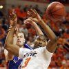 OSU\'s Matt Pilgrim (31) tries to rebound the ball in front of KU\'s Cole Aldrich (45) in the second half during the men\'s college basketball game between the University of Kansas (KU) and Oklahoma State University (OSU) at Gallagher-Iba Arena in Stillwater, Okla., Saturday, Feb. 27, 2010. OSU won, 85-77. Photo by Nate Billings, The Oklahoman