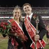 Michael Nash and Morgan Wolber receive their crowns as Homecoming King and Queen during halftime of the college football game between the University of Oklahoma Sooners (OU) and the Iowa State Cyclones (ISU) at the Glaylord Family-Oklahoma Memorial Stadium on Saturday, Oct. 16, 2010, in Norman, Okla. Photo by Steve Sisney, The Oklahoman